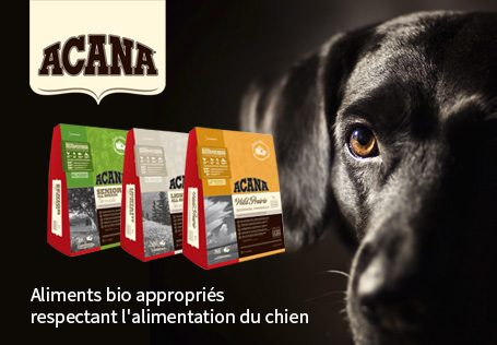ACANA. Aliments bio appropriés respectant l'alimentation du chien