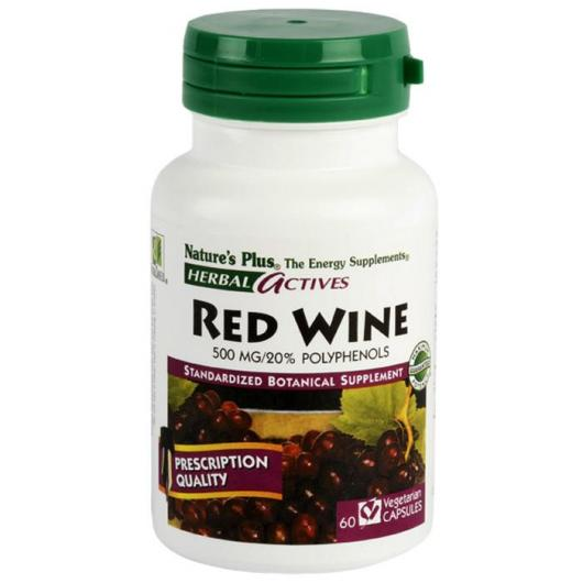 Vino Tinto (Red Wine) 500mg Nature's Plus, 60 cápulas