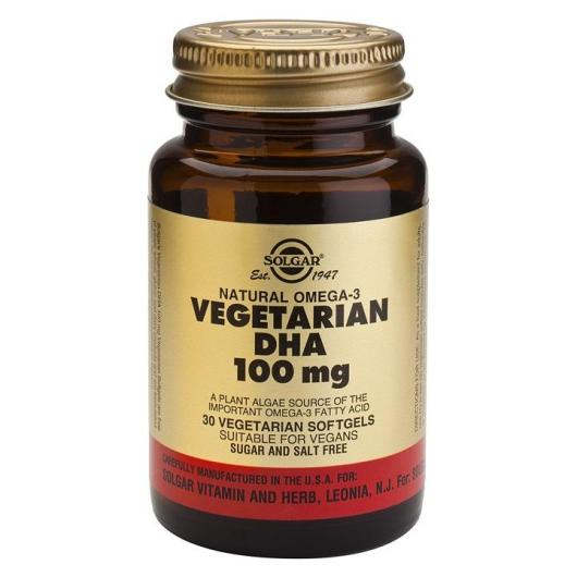 DHA vegetariano 100 mg Solgar, 30 capsule softgel