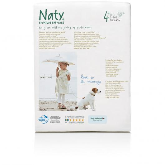 Couches n°4+ Naty 9-20 kg, 25 pièces