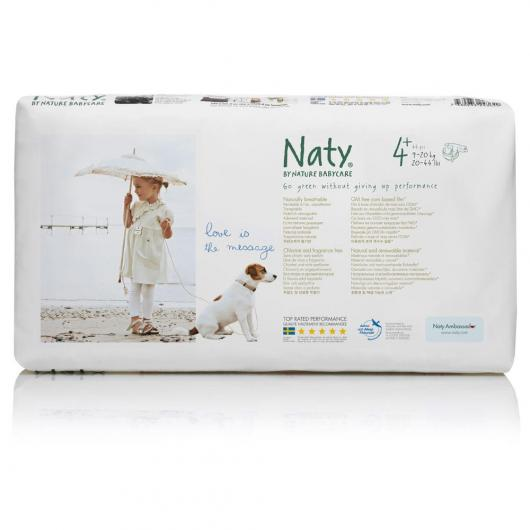 Couches n°4+ Naty 9-20 kg, 44 pièces