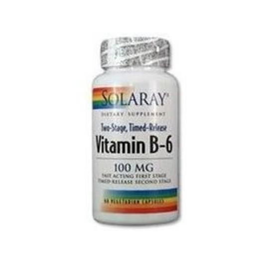 Vitamina B6 100 mg Solaray, 60 cápsulas