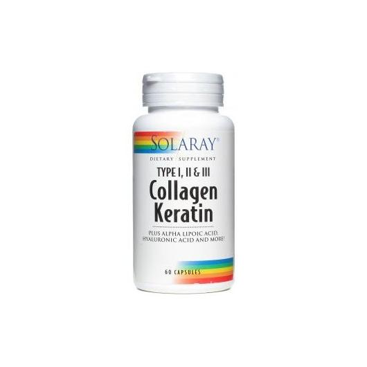 Collagen Queratina Solaray, 60 capsule