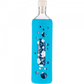 Botella de vidrio funda silicona azul 500 ml, Flaska