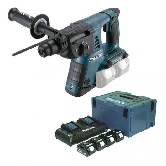 Martillo ligero 26 mm 18 V x 2 4,0 Ah Litio-ion y Set de demolición SDS-PLUS Makita