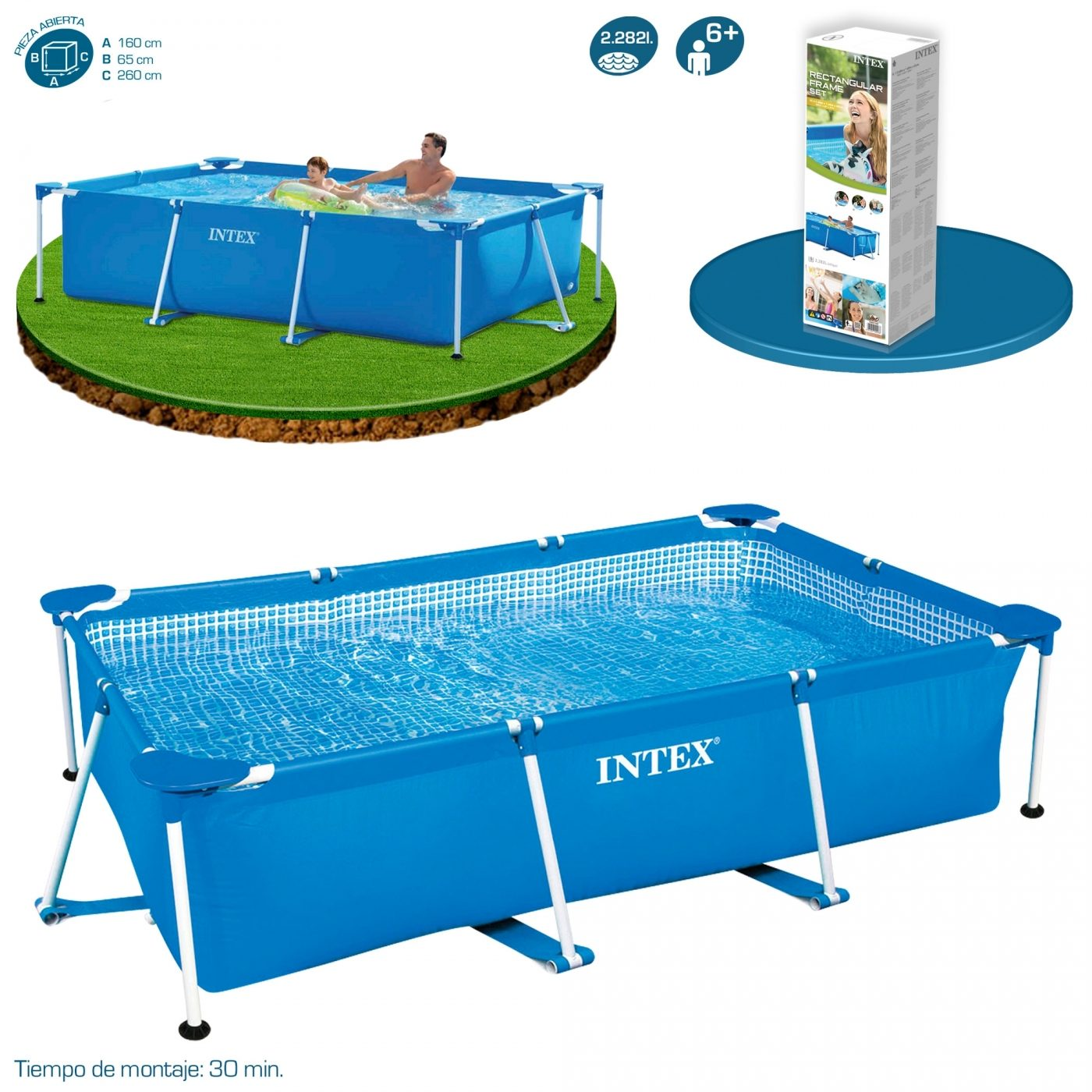 Piscina small frame 260 x 160 x 65 cm intex por 84 95 en for Piscinas rectangulares intex