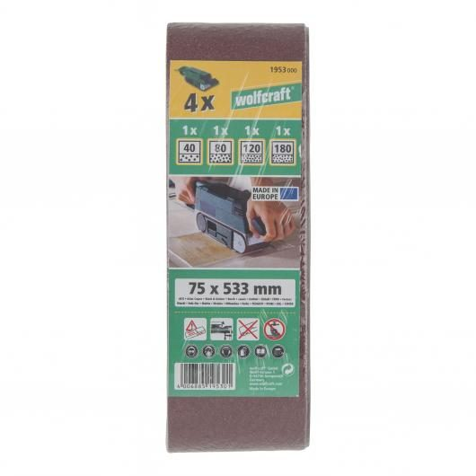 Wolfcraft 1953000 - 4 bandes abrasives 75x533mm