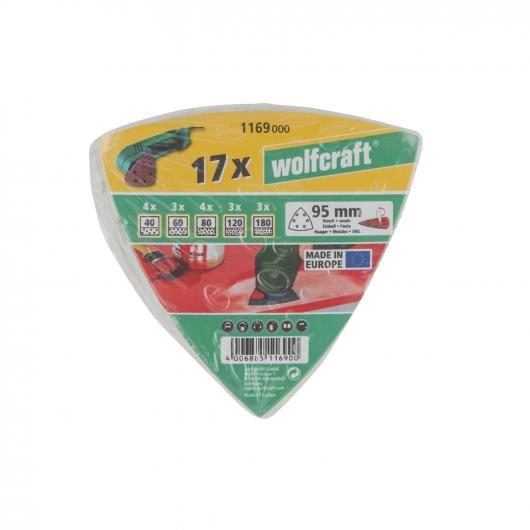 Wolfcraft 1169000 - 17 feuilles abrasives auto-agrippantes