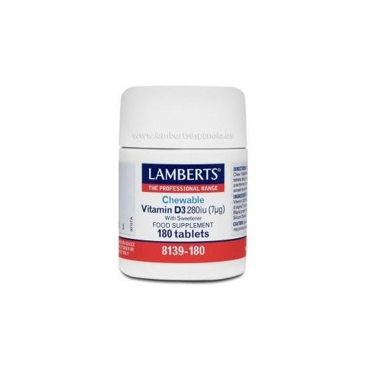 Vitamina D3 280UI Masticable Lamberts, 180 tabletas