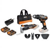 Outils multifonctions Worx WX678 + Parceuse Worx WX166 + 2 batteries 2,0Ah