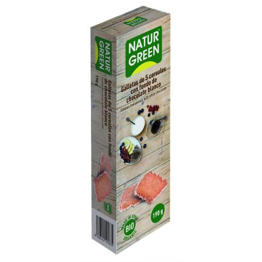 Galleta Eco 5 Cereales con fondo Chocolate Blanco Naturgreen, 190 g