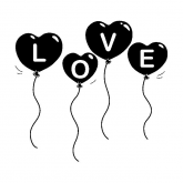 Sello de madera globos love