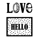 Sello transparente love/hello