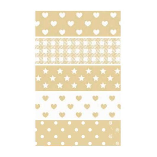 Washi Tape Lollipop beige 5 unidades 15 mm x 5 m