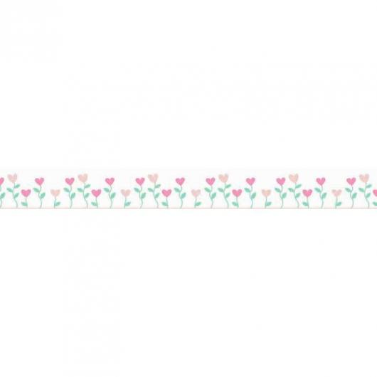 Washi tape flores corazones 15 mm x 10 m
