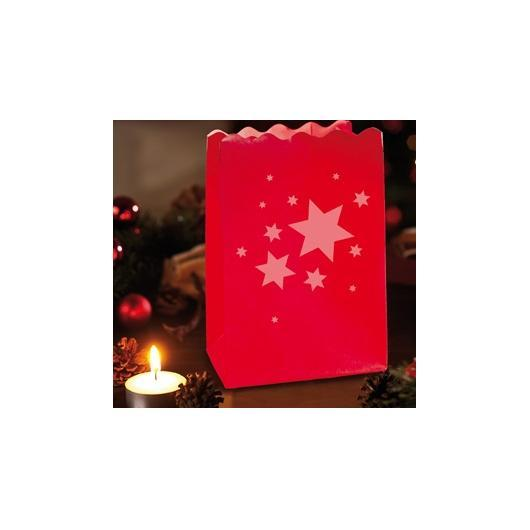 Lampes en papier rouge étoiles de Noël 4 pièces petite taille