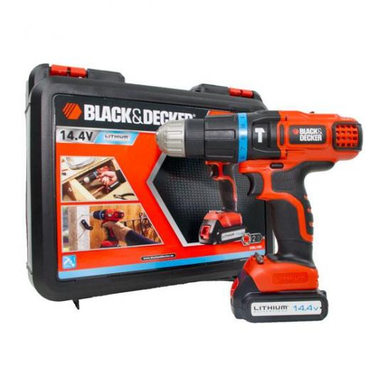 Perceuse à percussion sans fil 14,4 V Lithium + mallette Black&Decker EGBL148K-QW