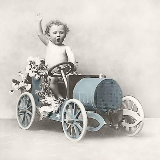 Servilleta vintage boy in car - 1 unidad