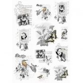 Papel arroz decoupage black & white