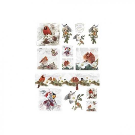 Papel arroz decoupage christmas birds