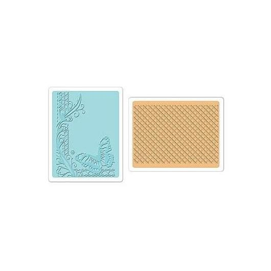 Set 2 placas textura Butterfly Lattice Textured Impressions Sizzix