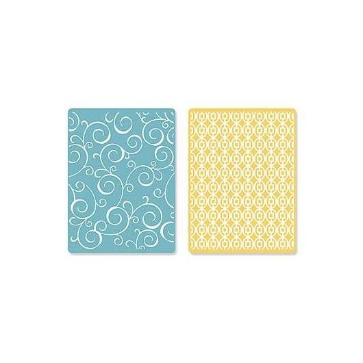 Set 2 placas textura Wirls & Squares in Ovals Textured Impressions Sizzix