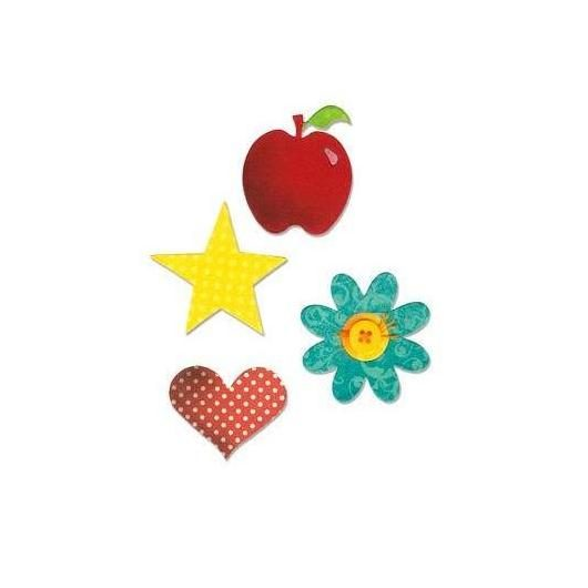 Troquel Apple, flower, heart and star Bigz Sizzix
