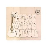 Tabla Peace, love & music 49x49 Dayka