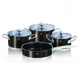 batería de cocina 7pzas acero inoxidable negro metálico Passion Collection, Berlinger Haus