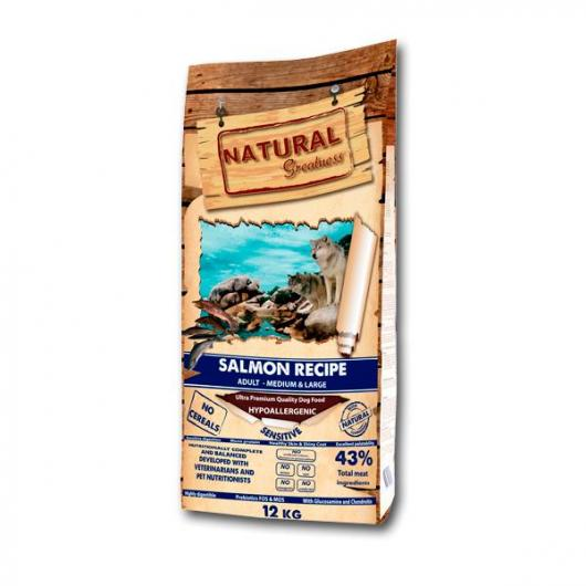 Receta de salmón Sensitive perros medianos y grandes Natural Greatness