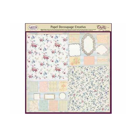 Papel decoupage patchwork flores y orlas Dayka
