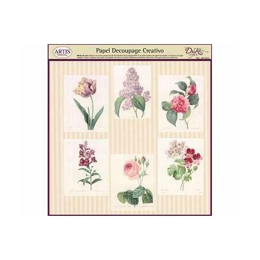 Papel decoupage rayas y flores Dayka