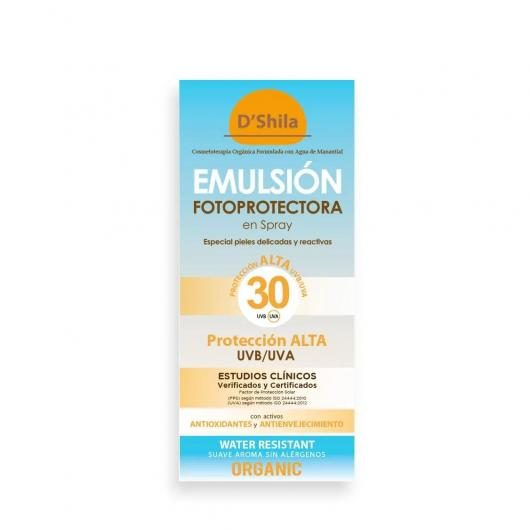 Emulsión fotoprotectora spray fps 25 D'Shila, 200 ml