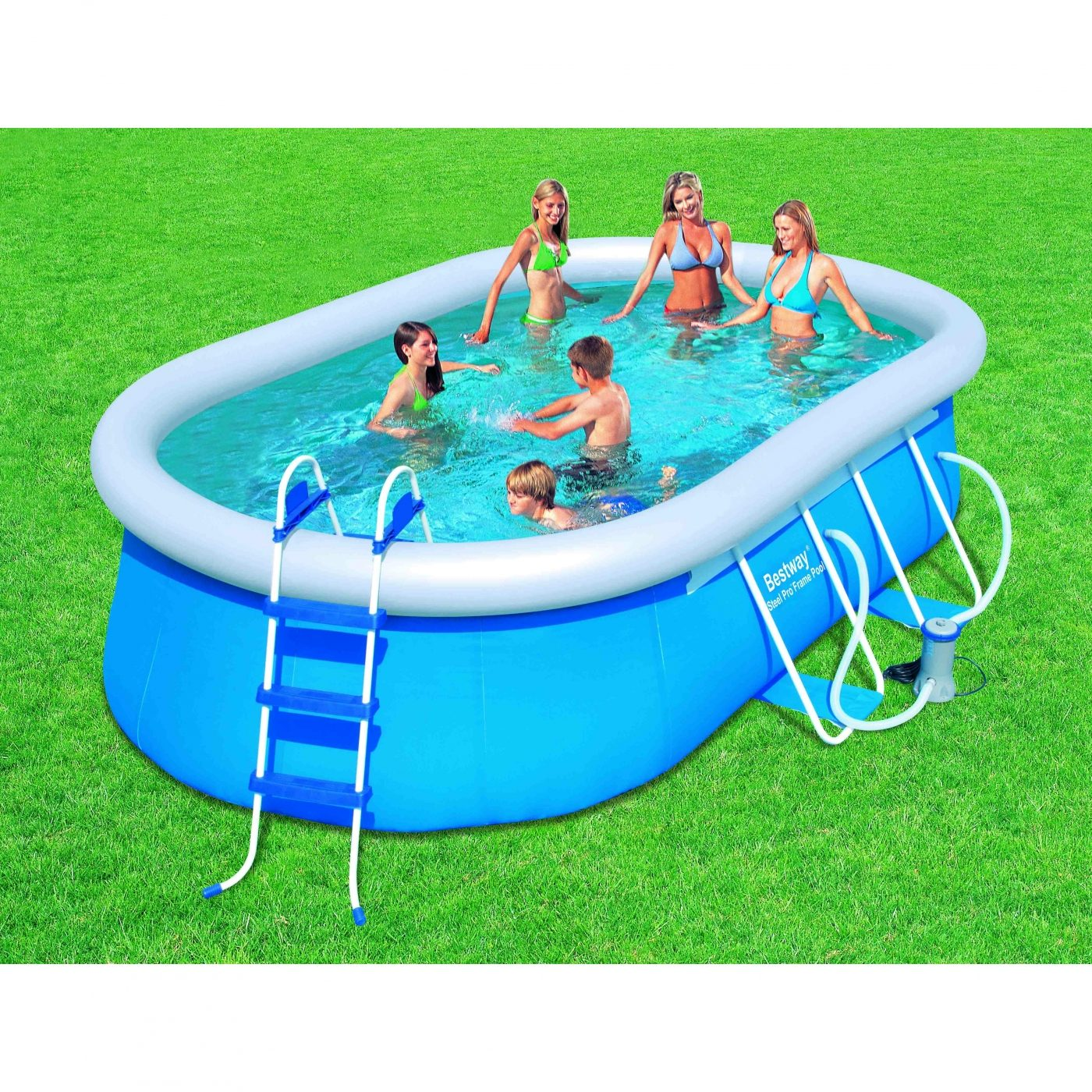 Piscine ovale fast set avec station d 39 puration par 399 95 for Piscine 95