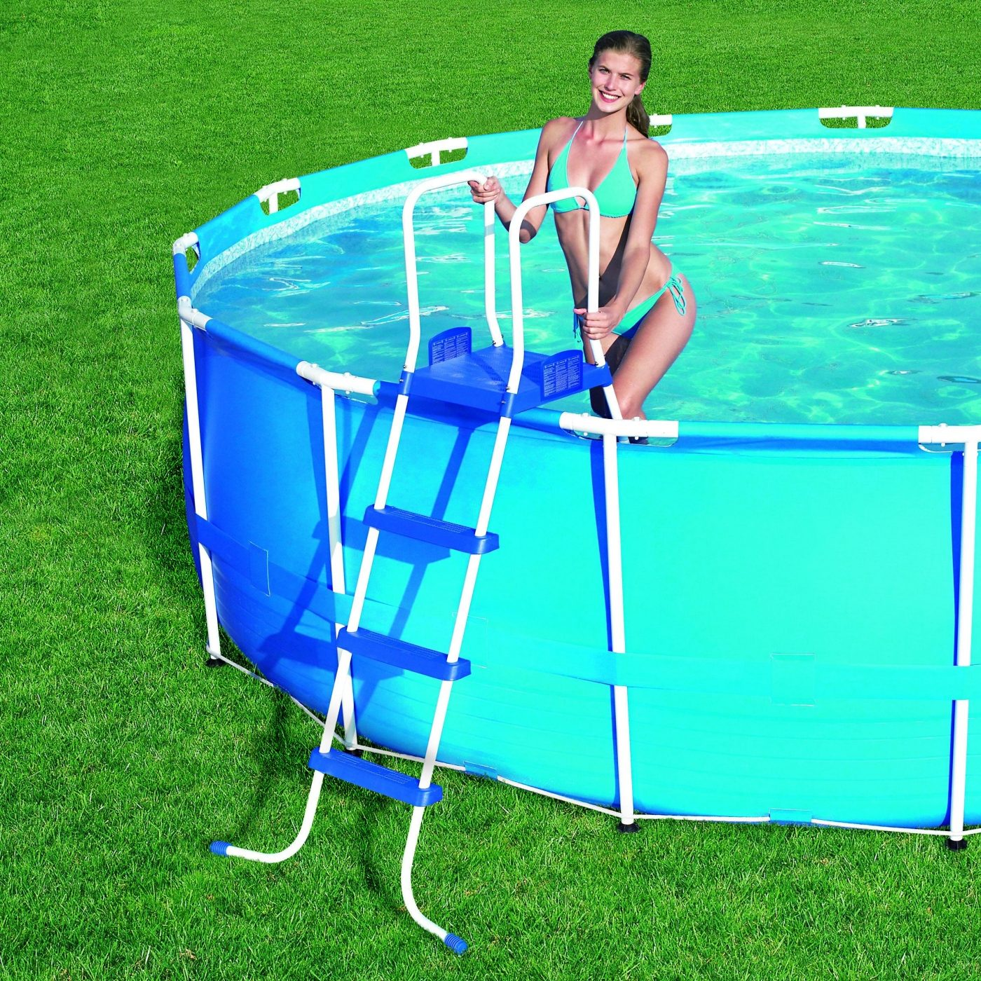 Escalera para piscinas de hasta 122 cm de altura por 74 95 for Escalones piscina