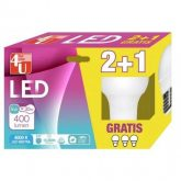 Pack 2+1 Bombillas LED Esféricas 5W E27 luz Neutra 4000K 4U LED