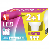 Pack 2+1 Bombillas LED Esféricas de 9W E27 luz Neutra 4000K 4U LED