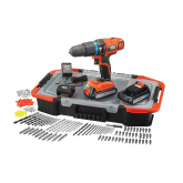 Set Trapano a percussione a batteria 18 V + 150 Accessori e Valigetta Black & Decker