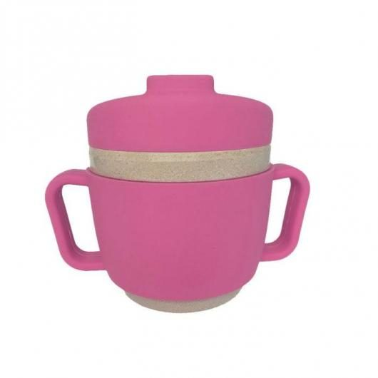 Taza de aprendizaje Glops de silicona Ecofriendly Rosa, The Dida World