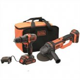 Kit Taladro percutor 18 V y Amoladora 18 V 125 mm con 2 baterías Black+Decker
